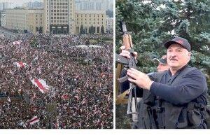 Лукашенко та його син з автоматами в руках пролетіли на вертольоті над протестувальниками