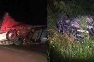 На Рівненщині вантажівка під час обгону скинула легковик з траси