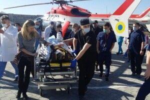 Як у кіно: рятувальники показали, як потерпілого з місця ДТП вертольотом доправили до лікарні (Відео)