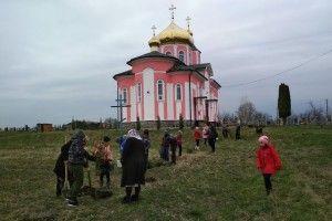 У Вишневі діти з лісівниками озеленювали церковне подвір'я