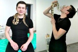 Релакс – божественний:як волинянин робить масаж зі змією (Фото)