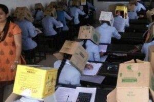 Щоб не списували: в індійському коледжі одягнули студентам коробки на голови
