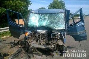 На Рівненщині бус зіткнувся з вантажівкою, двоє важко травмованих
