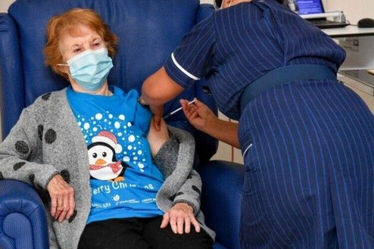 Розпочали масову вакцинацію від коронавірусу. Першою щепили 90-річну жінку