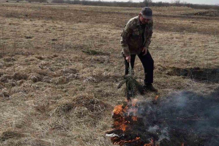 На Камінь-Каширщині паліїв сухої рослинності притягнуть до відповідальності