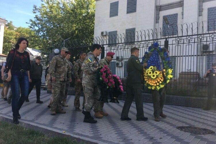 Путін за все відповість: під посольством Росії ветерани провели акцію пам'яті загиблих під Іловайськом