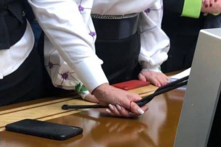 Під час сварок у Раді Тимошенко зламала Разумкову мікрофон та поранилася
