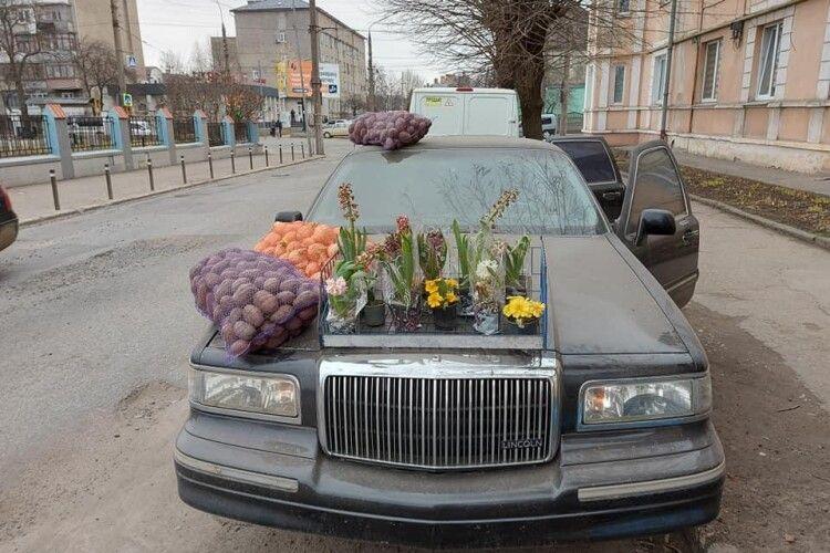 Фермер продає картоплю та цибулю просто з капота раритетного лімузина Lincoln (Фото)
