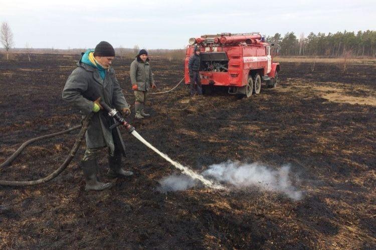 Волинські рятувальники оперативно загасили першу у цьому році пожежу торфу
