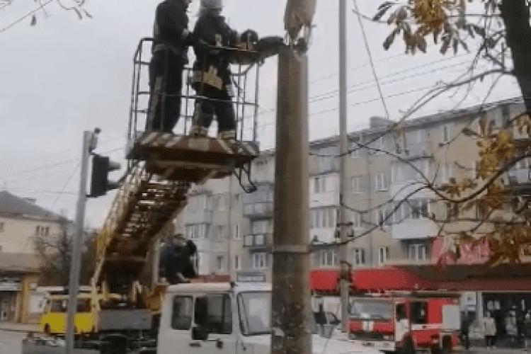 Рятувальники розповіли, як демонтовували у Луцьку стовп, що впав на електролінії  (Відео)