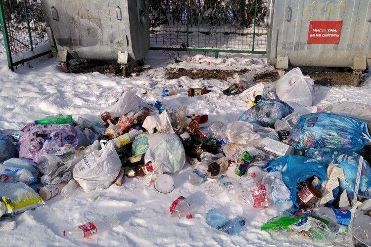 «Замість святкових привітань, якесь бидло вкрало контейнер для сміття» — мешканка волинського села