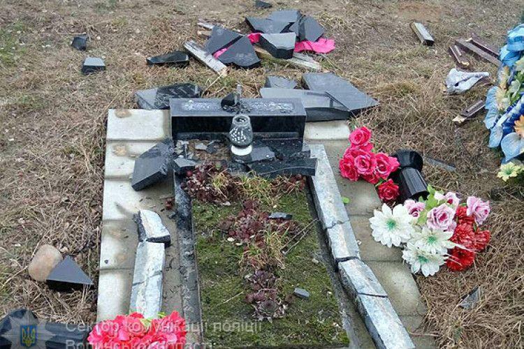 У Старих Кошарах на Волині чоловік розбив на цвинтарі 20 пам'ятників (фото)