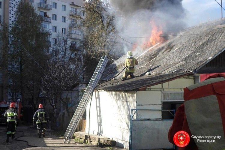 У Рівному 15 рятувальників гасили пожежу і винесли з вогню кошеня (фото)