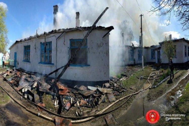 На Рівненщині згоріла школа (відео)
