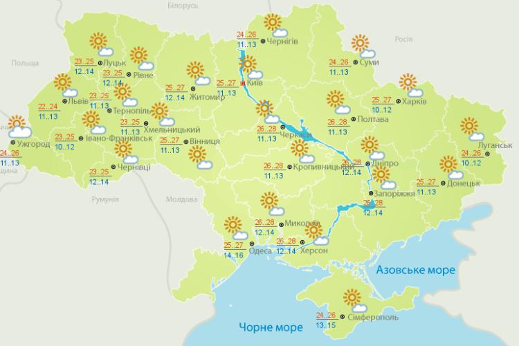 Погода: і дощик пройде де-не-де (Карти гідрометеоцентру)