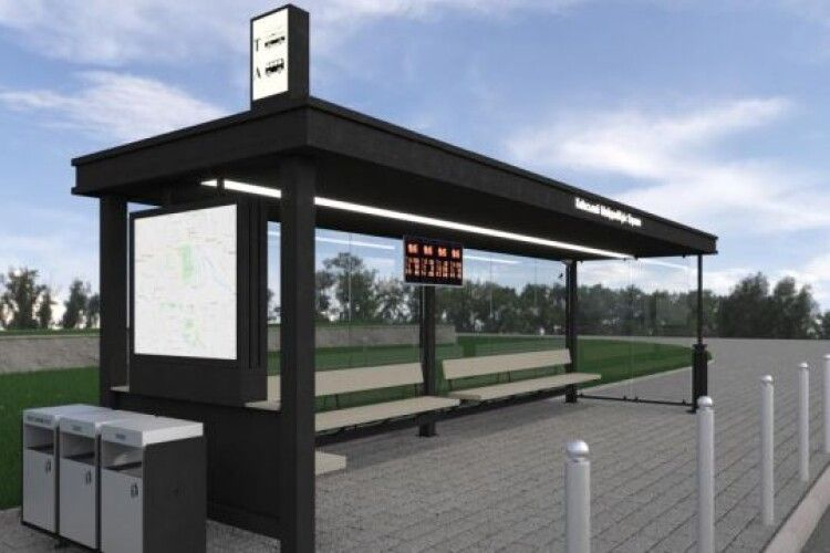 На «розумних зупинках» у Луцьку встановлять камери, сонячні батареї, wi-fi та місця для зарядки гаджетів