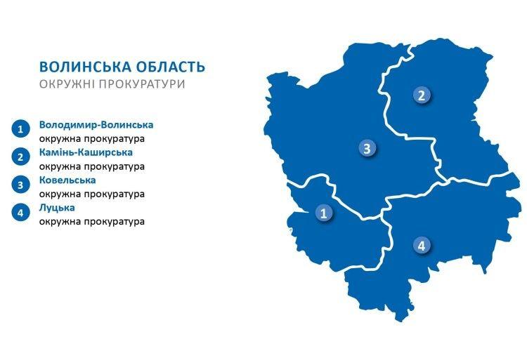 На Волині розпочали роботу чотири окружні прокуратури (Інфографіка)