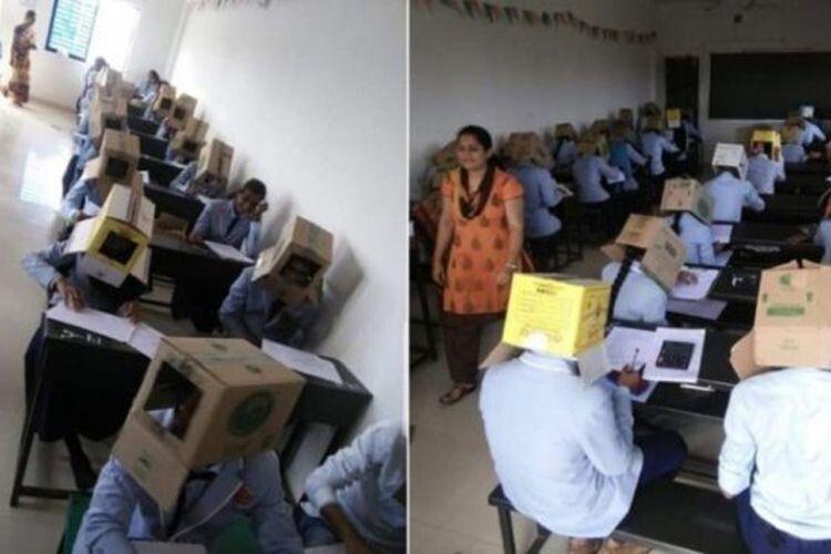 Щоб не списували: студентів в Індії змусили складати іспит із… коробками на голові