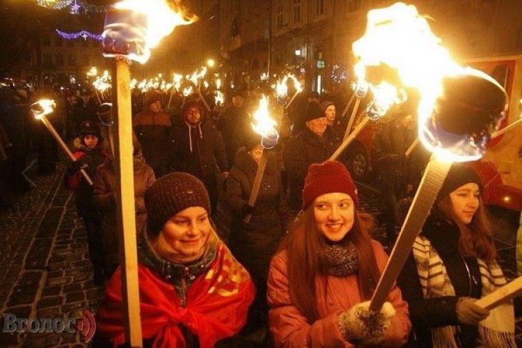 А в Горохові у День Соборності України – смолоскипний марш!