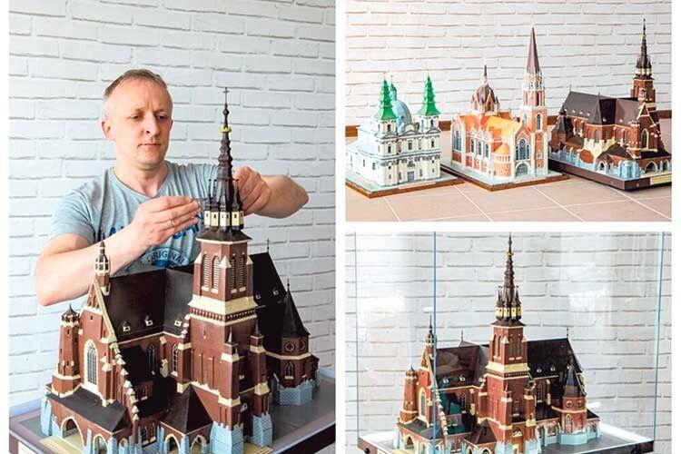 Тернополянин двароки творив макет зруйнованого ковельського костелу