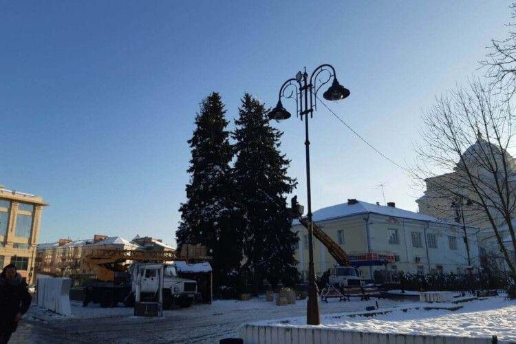 Свята минули: у Луцьку розбирають новорічні ялинки (Фото)