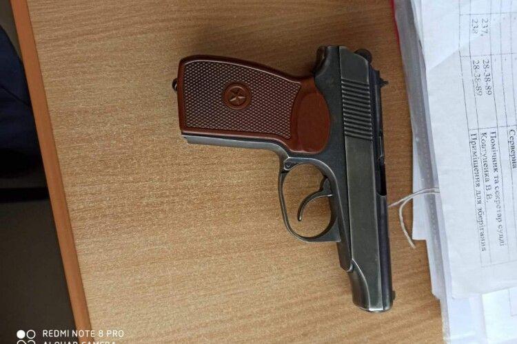 У Луцький міськрайонний суд намагалися пронести 3 травматичних пістолети, 3 ножі і газовий балончик