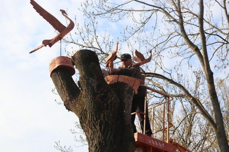 У місті на Волині на зрізані дерева почепили скульптури (Фото)
