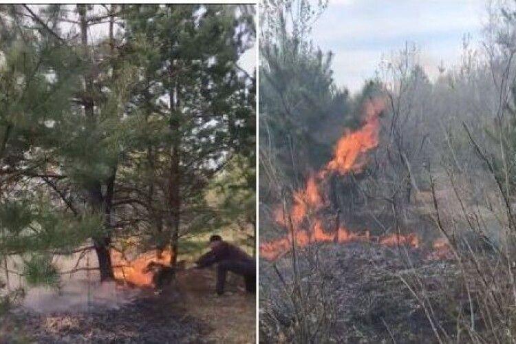 Поки їхали рятувальники, волинський ветеран АТО з дружиною погасили 2 кілометри пожежі