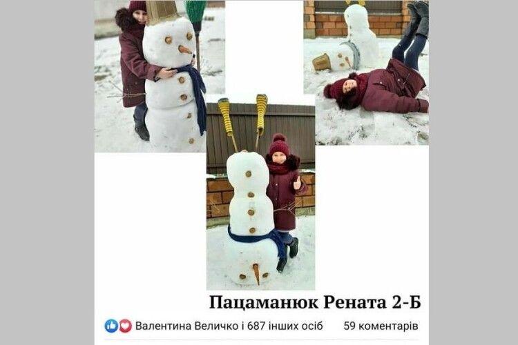 У маневицькій школі визначили найкращих скульпторів сніговиків