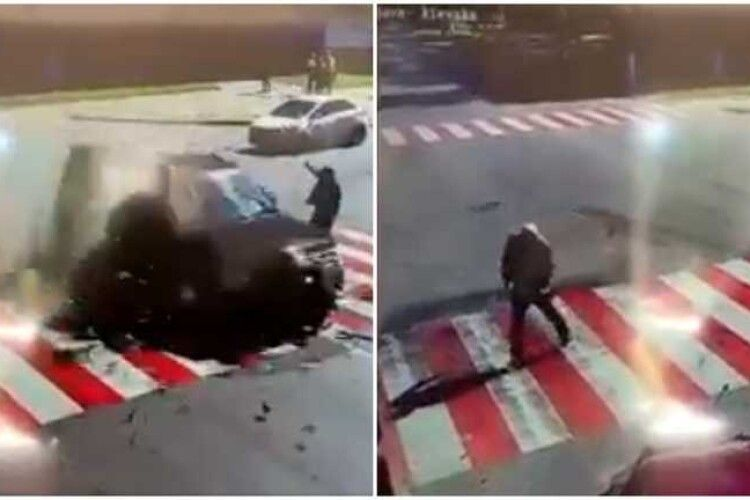 Авто пролетіло перед носом: чоловік дивом врятувався від страшної ДТП, момент потрапив на камеру (Відео)