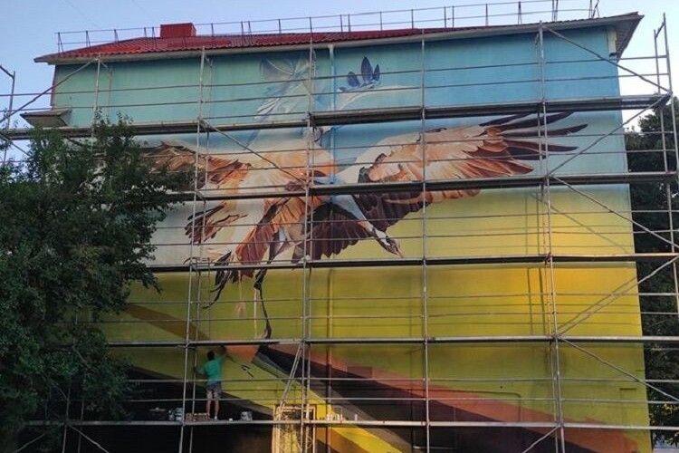 Вуличний художник розмалював корпус Східноєвропейського університету (Фото)