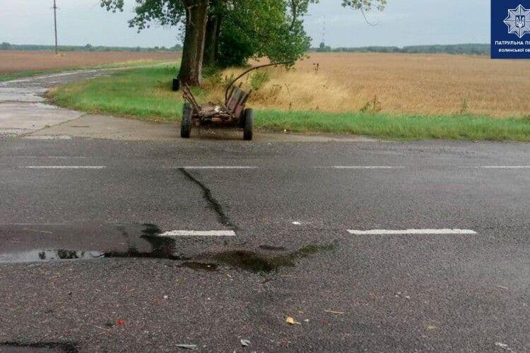На Волині Mercedes зіткнувся з гужовою підводою (Фото)