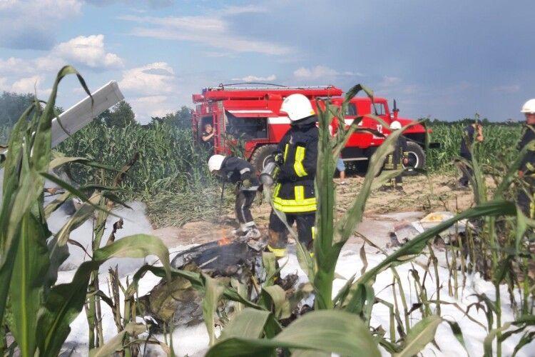 Легкомоторний літак гепнувся в кукурудзу й загорівся (Фото)
