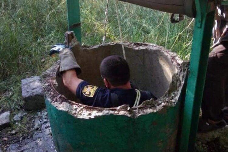 Боєць ДСНС врятував козеня, яке вскочило у криницю (Фото)