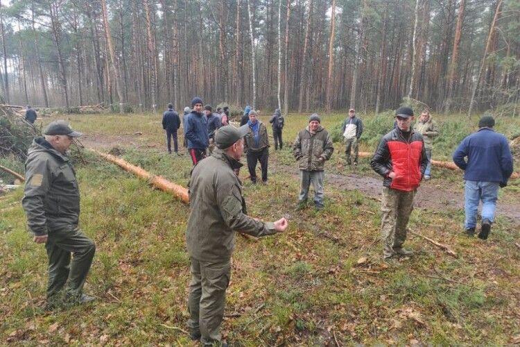 На Волинському Поліссі селяни на чолі зі священником протестують проти вирубки лісу (Фото)
