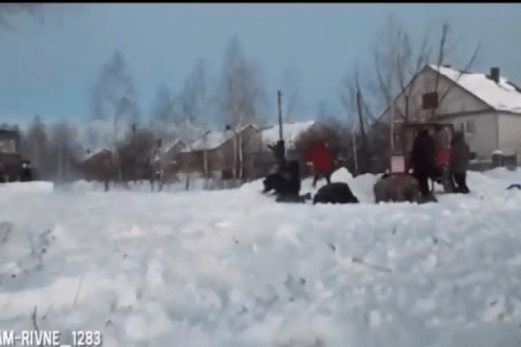 На Рівненщині люди на колінах зустрічали снігоочисну техніку (Відео моменту)
