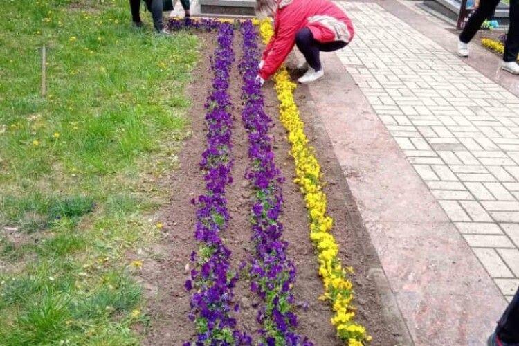 У Луцьку на меморіалі висаджують квіти (Фото)