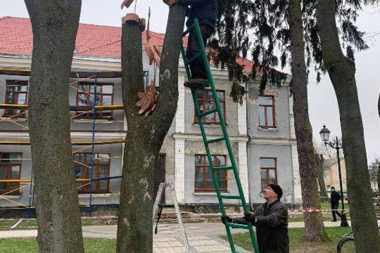 У парку Володимира встановили перші дерев'яні скульптури