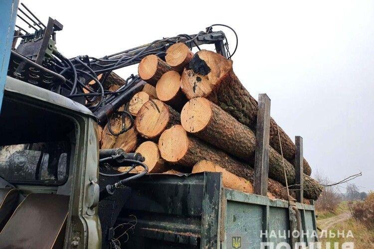 На Рівненщині злапали вантажівку, яка перевозила 40 соснових колод невідомого походження (Фото)
