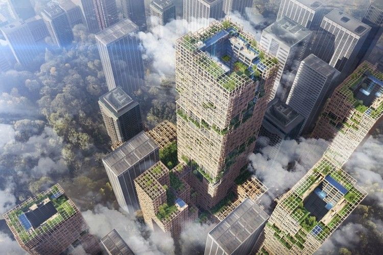 Фантастичний проект дерев'яного хмарочоса