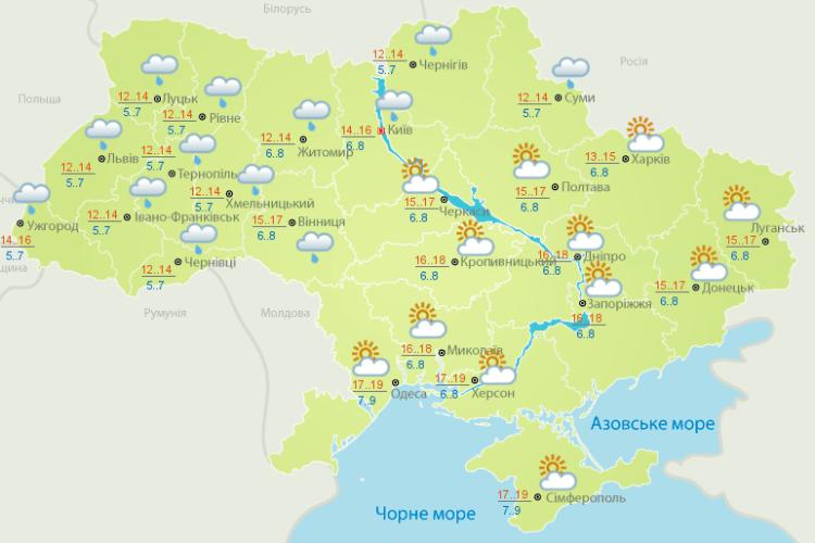 Погода: і в нас – сезон дощів (Карти гідрометеоцентру)
