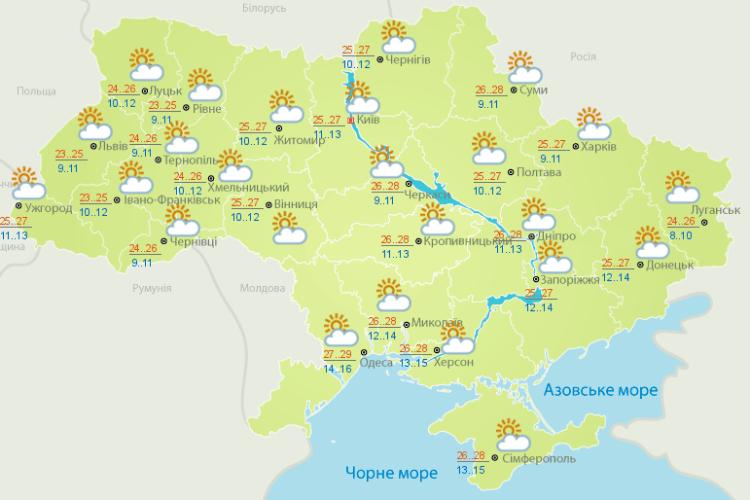 Погода: літо триває – до +25! (Карти гідрометеоцентру)
