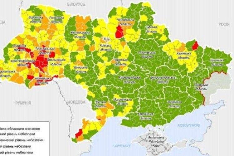 Нові карантинні зони: на Волині одразу три райони – «помаранчеві»