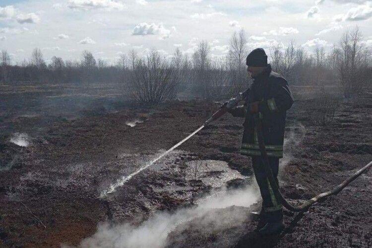 Біля Шменьок другу добу гасять пожежу на торф'янику
