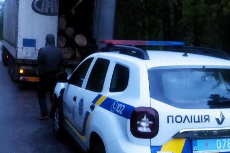 На Волині спинили машину для перевірки і виявили в причіпі крадені дуби (Фото)