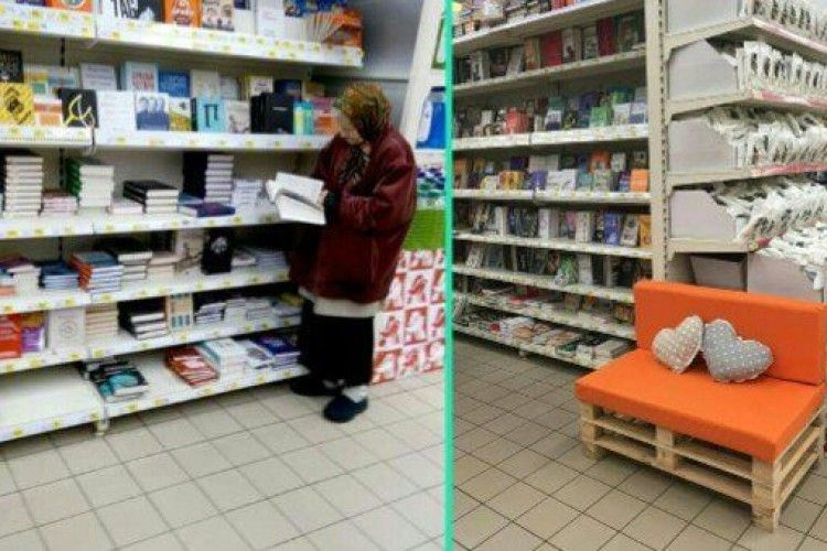 У Києві в супермаркеті встановили диван для жінки, яка щодня приходить почитати книги