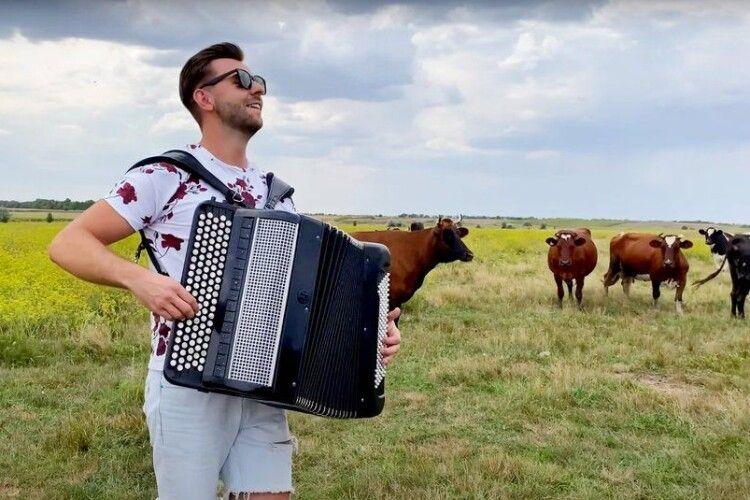 Музикант влаштував концерт з акордеоном посеред поля, де головні слухачі... корови