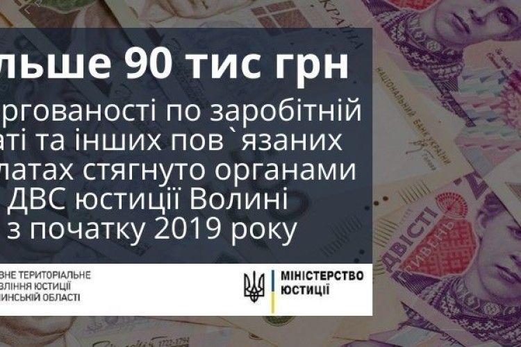 Державні виконавці Волині за січень стягнули понад 90 тисяч гривень заборгованої зарплати