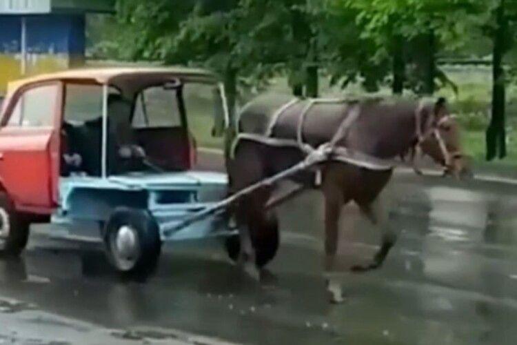 На Рівненщині їздить диво-машина на кінській тязі (Відео)