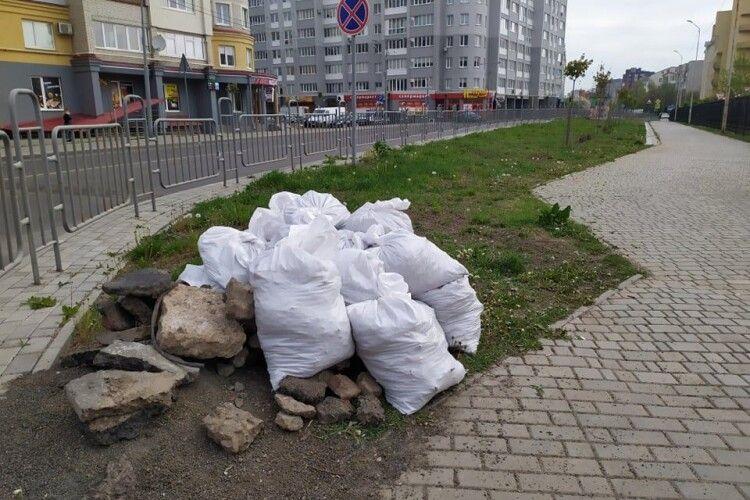 На вулиці Липинського в Луцьку просто на газоні «виросла» купа сміття
